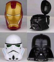 plastic cup with lid - Star War Stormtrooper Darth Vader Super Heroes Iron Man Of Helmet Mug Cup Shaped Coffee Mugs Plastic Water Cup Coffee Cup