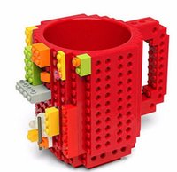 Moda DIY construir-en ladrillo tazas Lego Pixel Mega Bloques KRE-O K'NEX Compatible ladrillos dibujos animados Bebida de café Copa Drinkware juguetes educativos