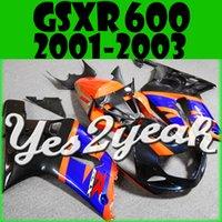 Wholesale Yes2yeah Aftermarket Injection Mold Fairing For Suzuki GSXR600 GSX R GSXR K1 Blue Orange S61Y31 Free Gifts