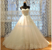 best romantic - Newest Real Image Princess A Line Lace Wedding Dresses Appliques W1420 Romantic Bridal Gowns Rhinestones Dazzling Crystal Modern Best