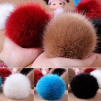 ball chain lanyards - 20pcs Faux Rabbit Fur Fluffy Pom Pom Balls Mobile Chain Straps Handbag Chains Key Chains Can choose Colors