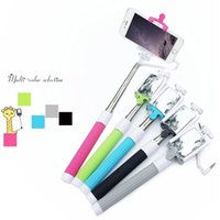 Cheap Wired Selfie Monopod with mirror Clip Holder folding Extendable selfie stick with mirror for iphone IOS Samsung Android galaxy S6