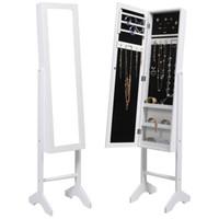 Wholesale White Mirrored Jewelry Cabinet Armoire Mirror Organizer Storage Jewelry Box Ring Multi function Mirror