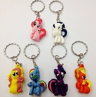 Wholesale My Little Pony cartoon anime girls my little pony Keychain sided soft toys for kids