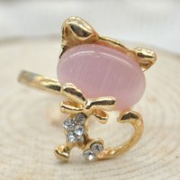 Wholesale Vintage Lovely Cute Rhinestone Cat Rings Adjustable Crystal Ring for Women Opal Rings Anel Cheap Gold Jewelry MHM288
