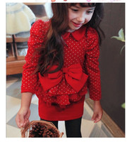Wholesale 2014 Autumn Girls Lovely Bowknot Tulle Dresses Branded Clothing Kids Dots Pure Cotton Lapel Dress Girl Boutique Tutu Dressy Red Black I1872