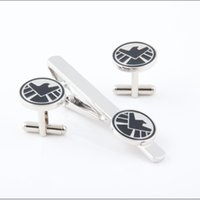 best tie clip - High Quality Marvel Aegis board cuff Link and Tie Clip Sets For Shirt Best gift Fashion Jewelry W431