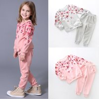 kids sweat suits - Sweater pants pieces girl kids flowers sets Baby causal sweat suittracksuit baby outfits suit set Sports Set girls A11