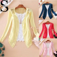 Cardigan lace cardigan - 10 color fashion women lace sweaters Candy color cardigans plus size long sleeve Slim back lace openwork crochet knit cardigan sweater