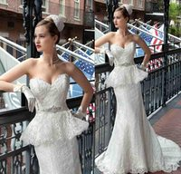 Cheap Fashion Lace Peplum Mermaid Wedding Dresses Beads Sash Chapel Train Vintage Garden Bridal Party Gowns Free Shipping Demetrios Bride