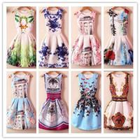 basic digital - 2015 spring and summer digital print formal one piece vintage dress sleeveless puff dress jacquard basic dress