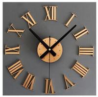 Wholesale A metallic d DIY Roman numerals wall clock Creative wall clock diy clock gold and silver