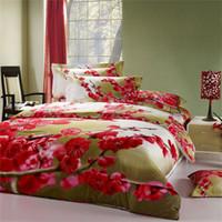 al por mayor fundas de edredón de ciruela-Boda Plum 3D ropa de cama de pintura al óleo 4pcs Impreso edredón de ropa de cama de cubierta establece tridimensional patrón de textiles para el hogar