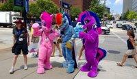 al por mayor vestido rainbow dash-Mi pequeño mascota de pony trajes rosa pastel arco iris guión Crepúsculo chispa manzana Jack mascota Halloween fursuit Partido Adultos Tamaño Fancy Dress