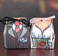 crafts and gifts - 100 Pair Pieces Candy Box Bride And Groom Carton Paper Box Creative Wedding Favors And Gifts