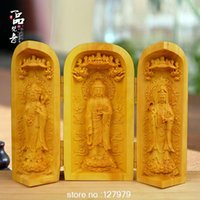 Wholesale Boxwood carvings wood carvings statues the Goddess of Mercy Trinity Western Buddhist supplies Buddha freeshipping