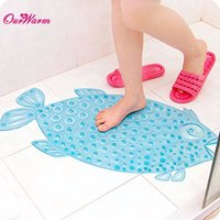 Wholesale 72x cm Waterproof PVC Bathroom Non slip Mat Fish shaped Bathmat Pad for Safety Shower Bathroom Products Clear Blue Pink Orange