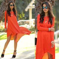 ladies chiffon fashion dresses - Vestidos Woman Chiffon Dress Womens Clothing New Fashion Casual Orange Front Short Long Back Novelty Dresses Ladies Dropshipping