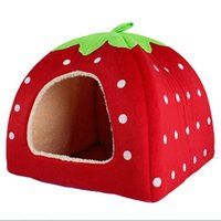Wholesale New Soft Strawberry Pet Dog Cat Rabbit Bed House Kennel Doggy Warm Cushion Basket Red Color Size S