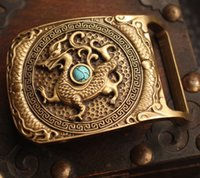 Wholesale Manual sculpture of pure green stone belt buckle fashion punk smooth brass buckle silver zodiac dragon belt buckle