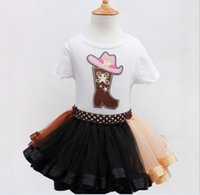 Wholesale Lolita Winter Boots - 2015 Christmas Boots Ice Cream Print Bowknot Dresses Girls T-shirt + Skirt Set Pleated Princess Party Wear Cotton Children Kids Dress K6111