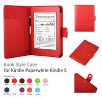 amazon book stand - Luxury Flip PU Leather Case Smart Cover With Stylus Holder Stand For Amazon Kindle Paperwhite inch E book