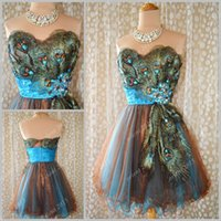 Cheap Hot Embroidery Peacock Pattern Prom Dresses Ball Gown Sweetheart Mini Short Party Dress Sequins Dress