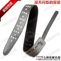 Wholesale Black Silver Star Rivets Punk Leather Adjustable Length Comfortable Acoustic Electric Folk Bass Guitar Strap