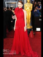 apple natural stone - 2015 Oscar Awards Emma Stone Sexy High Neck Bowknot Floor Length Red Chiffon Celebrity Dresses Formal Evening Party Gowns