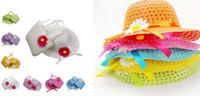 plastic tote - Children cap sunhat handbag set visor lovely girl floral straw cap tote kids summer beach Two piece bag hat sunbonnet bags suit