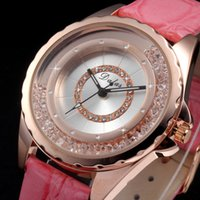 Wholesale Luxury Analog Relogio Rose Gold Case Moving Crystal Girl Women Dress Pink Leather Strap Rhinestone Ladies Quartz Watch WK1077