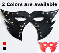 adult halloween costumes - 4 Black Red pu leather sex mask for sexy Cat women couples adult flirting roleplaying game Halloween costume night club party