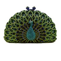 Wholesale 2015 new arrival crystal luxury Peacock women s evening bag crystal clutch bag chain handbags