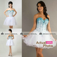 Cheap 2015 Short Prom Dresses Cheap Summer Homecoming Graduation Dresses Under 50$ In Stock White Organza Beaded Beach Cocktail Party Evening Gown