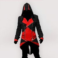Wholesale 360pcs new style Hot Sale Red Black Fashion Assassins Creed III Connor cotton Hoodie Costume Jacket coat for men