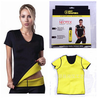 Wholesale 4 sizes Hot shapers women vest Stretch Neoprene slimming body shaper weight loss T shirt short sleeve tops R0762