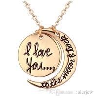 achat en gros de lune d'or-Colliers Pendentif Mode korean Bijoux Bon marché je t'aime à la Lune et le dos Argent Collier en or Collier Pendentif Homard Colliers