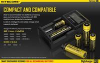 Wholesale 2015 New black Nitecore D2 Digcharger Battery Charger LCD Display Universal Nitecore Charger Fit Li ion LifeP04 Ni MH Ni Cd Batteries