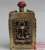 antique snuff - The old craft exquisite antique snuff bottle Shuanglongxizhu copper snuff bottle