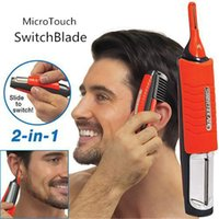 Electric Shavers - Idea Village Micro Touch SwitchBlade Hair Trimmer ea Product All in one Switch Blade Multi Function Micro Touches Red With Logo Package