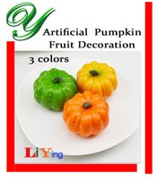 foam pumpkins - Artificial fruit vegetables decor plastic foam Pumpkins mix colors Halloween decoration Christmas Fall Harvest home garden table ceterpieces