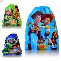 best toys shop - 12Pcs Toy Story Kids Drawstring Backpack cm Handbags Kids School bags Shopping Bags kid Best Gift