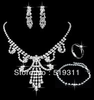 Wholesale Best Gift sparkling rhinestone Sets silver Plating sets Women Jewelry Sets