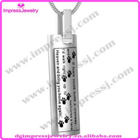 pet urns - IJD9137 L Stainless Steel Dog Paw Print Tags Cremation Jewelry Pet Funeral Memorial Ashes Urn Pendant