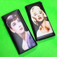 audrey hepburn handbag - Women Wallet Brand PU leather Marilyn Monroe Audrey Hepburn Lady Long Clutch Coin Purse Handbags Cards ID Holder Black Money Bag