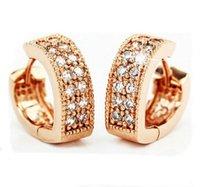 Wholesale New Sterling Silver Stud Earrings Fashion Double Row Crystal V Heart shaped Hoop Earrings Women Rose Gold Plated Jewelry Earrings
