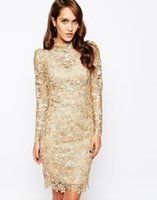 Wholesale New Arrival cocktail dresses for women Gold Lace High Neck Sheer Long Sleeve short sheath prom gowns party dresses