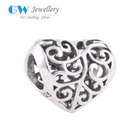 Wholesale Heart shape beads charms pendant S925 sterling silver material European brand T022BH66