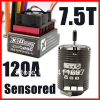 al por mayor combos sin escobillas-X-racing controlador Combo 120A ESC 7.5T 4530KV Sensored motor sin escobillas Combo RC 1:10 para coches pista $ 18Nadie