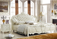 Wholesale GENUINE LEATHER BED LUXURY STYLE WHITE SIMPLE FASION DOUBLE PERSON GOOD QUALITY CM A91D